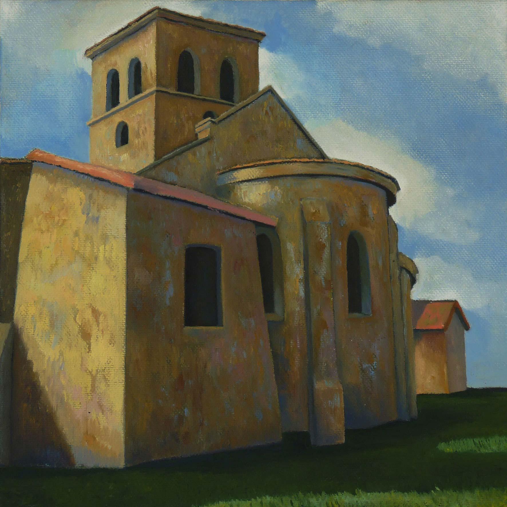 Romanesque Church, Iguerande, oil on canvas, private collection