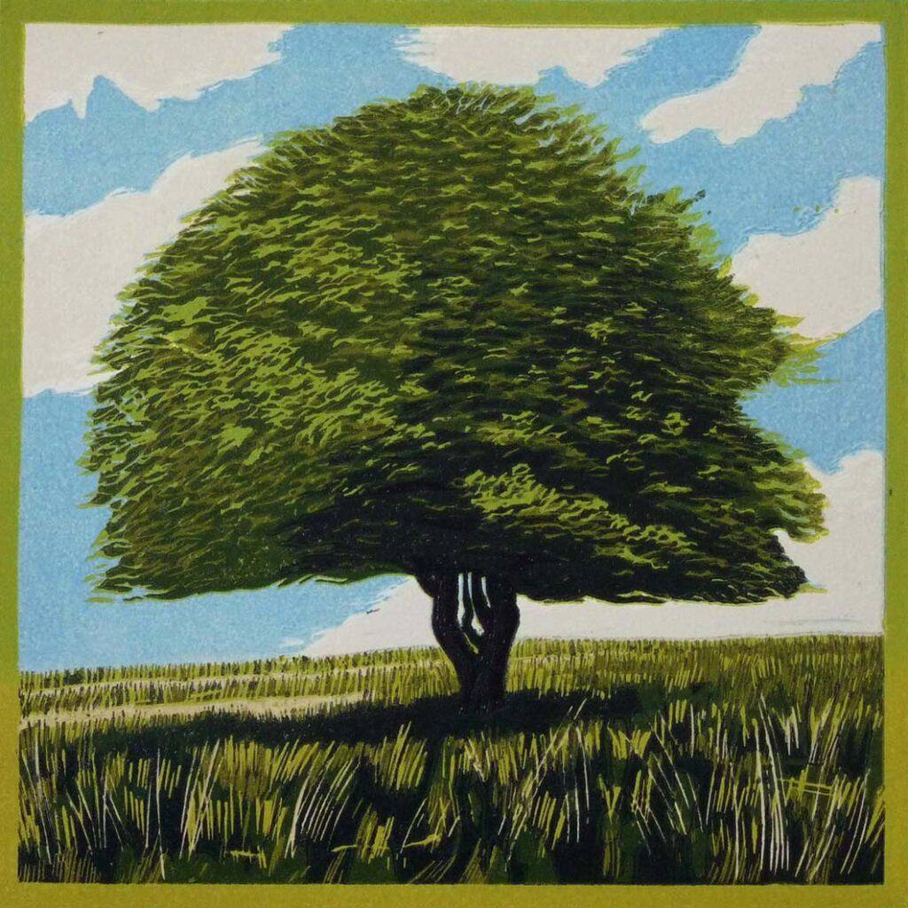 Hawthorn Tree lino print