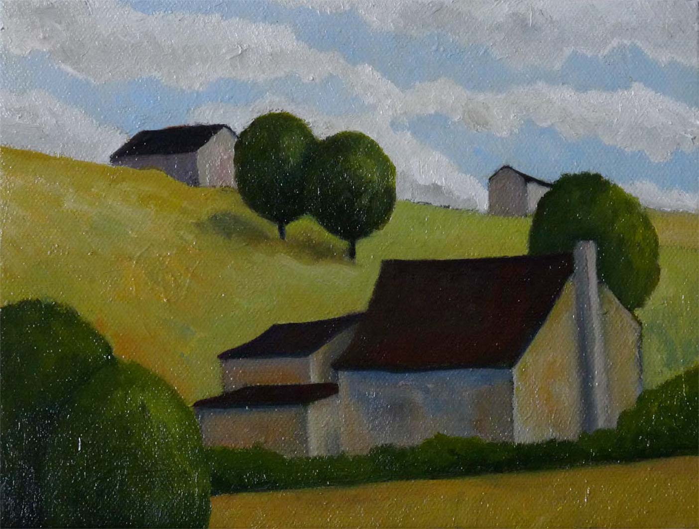 Small French Landscape, oil on board, private collection