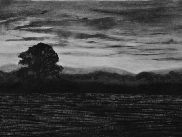 Early One Morning, charcoal & conte, private collection