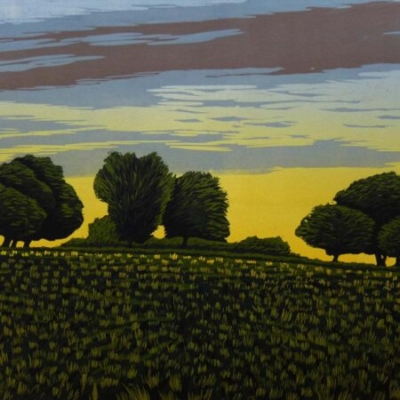 Trees with Coloured Sky, 35x44cm, no longer available