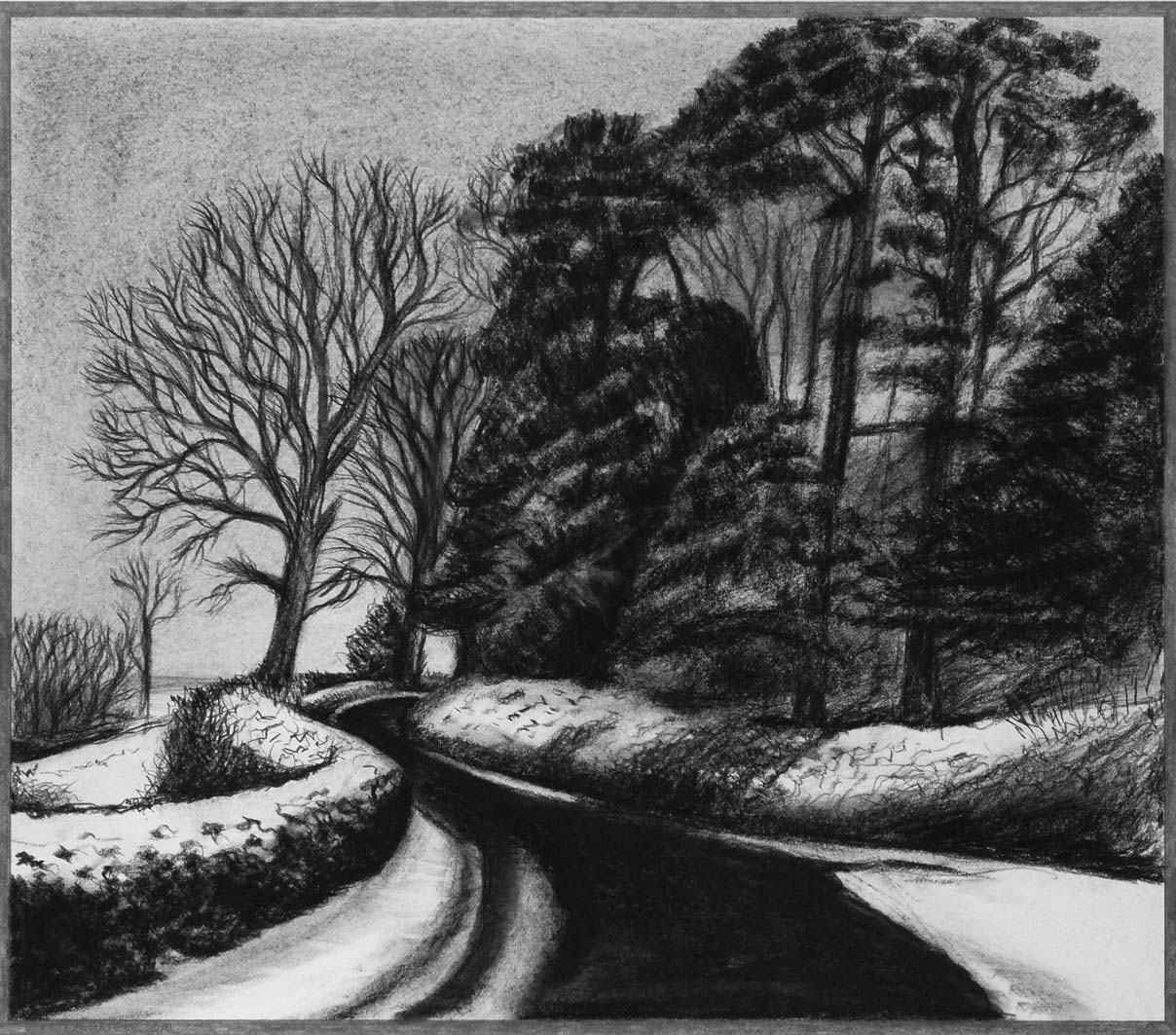 Snow on Motcombe Hollow, charcoal & conte, private collection