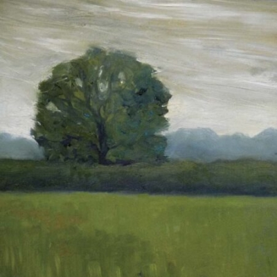 Field with Tree, oil on paper, private collection