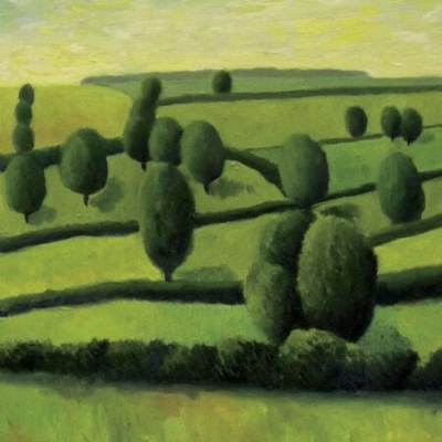 Fields and Trees, oil on card, private collection