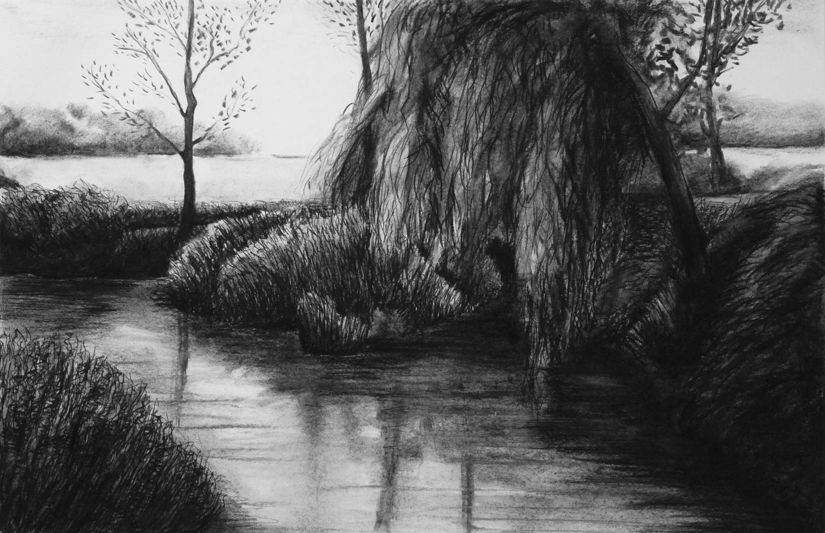 River Stour backwaters, charcoal, private collection