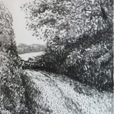 Cornish Lane, charcoal, private collection
