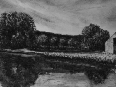 The Tamar at Morwelham, charcoal, 40x60cm