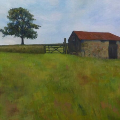 Barn and Tree, oil on canvas, private collection