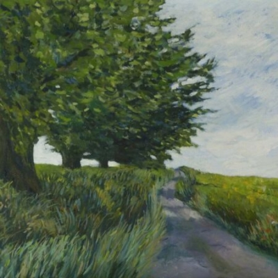 Lane with tree, oil on canvas, 40x50cm, £450