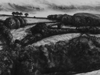 Devon Hill Side, charcoal, 91x110cm