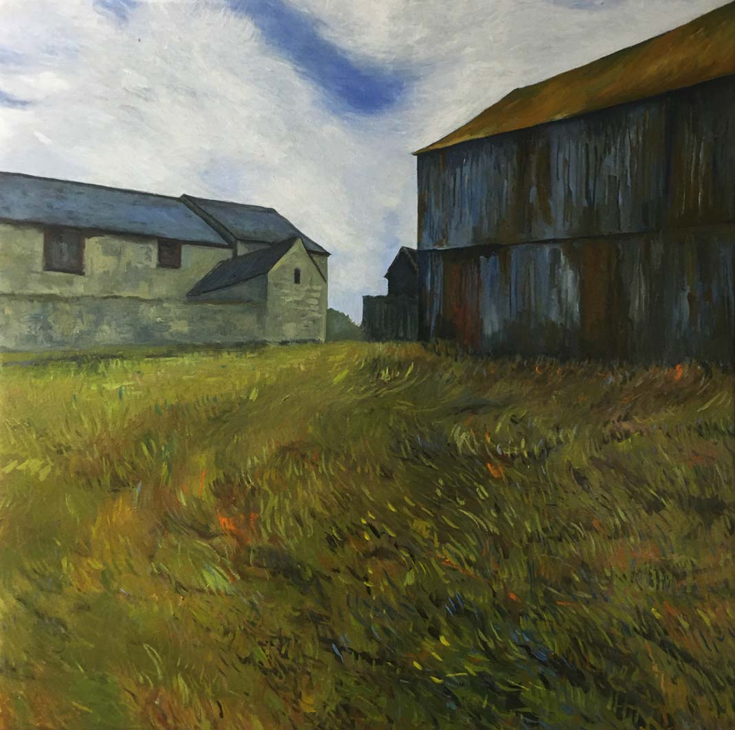 Rusty Barn, oil on canvas, 82x82cm