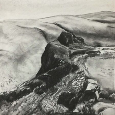 Tavy Cleave, charcoal, 53x53cm