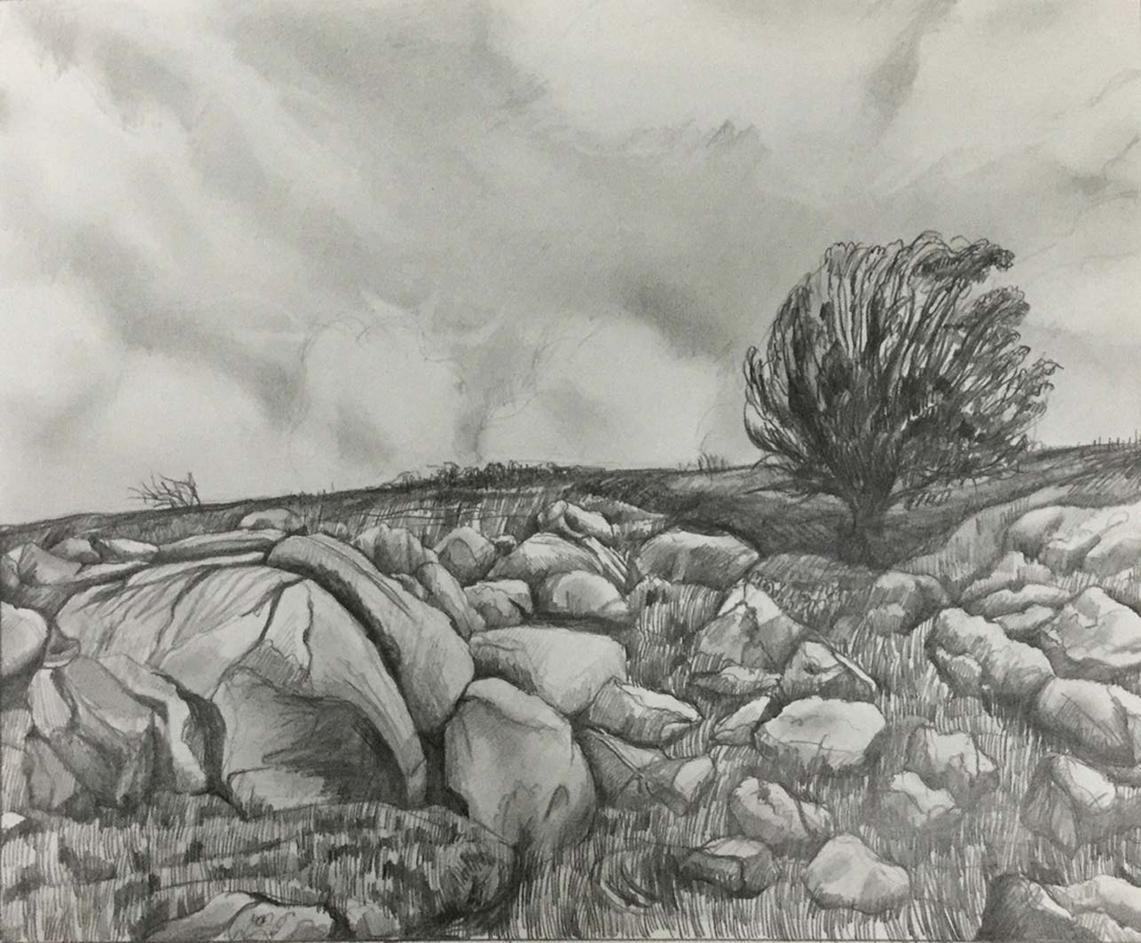 Dartmoor Lines (2), pencil, design drawing for lino print