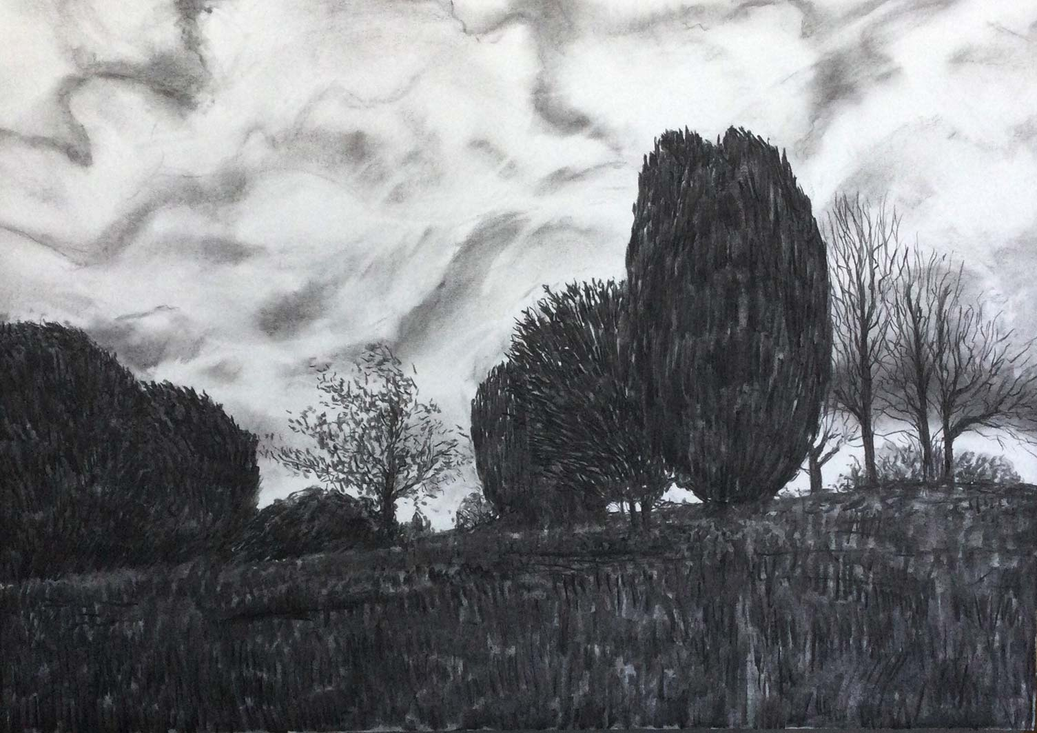 Godly Sky over St Andrews, charcoal, 53x76cm