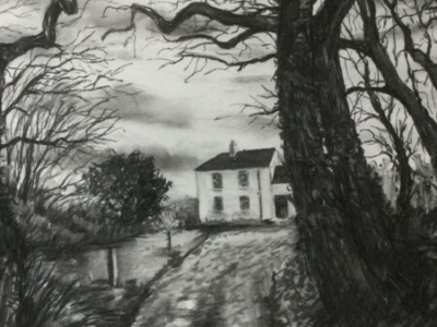 Gresham House Awaiting Spring, charcoal, 53x76cm
