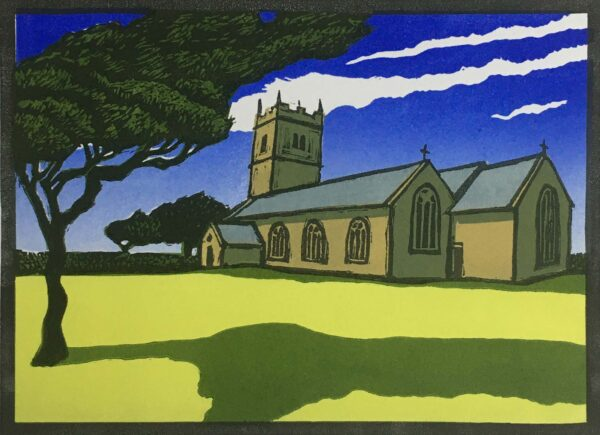 Lino print of St Endellion Church, the finished print
